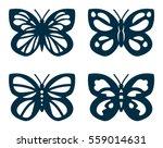 Stock vector set of cutout butterflies for laser cutting butterflies silhouettes 559014631