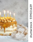 Caramel Party Cake With Popcor...
