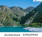 issyk mountain lake  kazakhstan ... | Shutterstock . vector #559029949