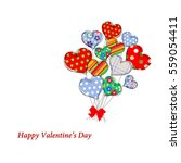 card with a bouquet of the... | Shutterstock . vector #559054411