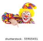 Cheerful Clown Pointing To...