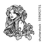 beautiful woman with long hair... | Shutterstock .eps vector #559092751