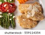 parmesan crusted chicken... | Shutterstock . vector #559114354