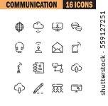 communication flat icon set....