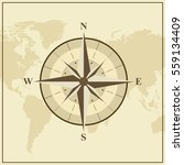 world map with brown compass... | Shutterstock .eps vector #559134409