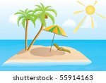 island in the sea with two palm ... | Shutterstock . vector #55914163