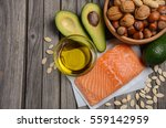 Stock photo selection of healthy fat sources top view horizontal copy space 559142959