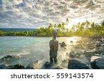 ancient tiki standing in pu... | Shutterstock . vector #559143574