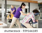 office massage at mobile chair  | Shutterstock . vector #559166185