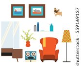 living room isolated objects in ... | Shutterstock . vector #559169137