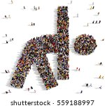 large and diverse crowd of... | Shutterstock . vector #559188997