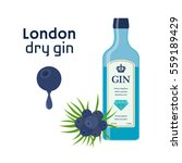 traditional dry gin in blue...   Shutterstock .eps vector #559189429