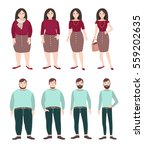 fat and slim people. weight... | Shutterstock .eps vector #559202635