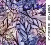 floral watercolor seamless... | Shutterstock . vector #559218805
