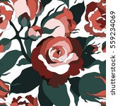floral pattern with roses.... | Shutterstock .eps vector #559234069