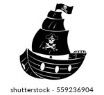 pirate ship with skull head... | Shutterstock .eps vector #559236904