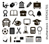 black vector icons education... | Shutterstock .eps vector #559241701