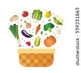 vegetable basket flat style... | Shutterstock .eps vector #559251865