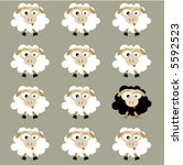 black and white flock sheep | Shutterstock .eps vector #5592523