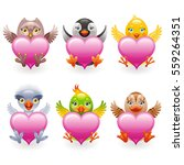 cute plush bird toys with heart.... | Shutterstock .eps vector #559264351