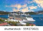 cruise ship docked in saint... | Shutterstock . vector #559273021