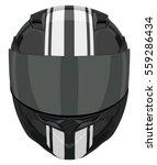 Black Motorcycle Helmet With...