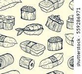 sushi seamless pattern.... | Shutterstock .eps vector #559286971