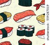 sushi seamless pattern.... | Shutterstock .eps vector #559287019