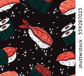 sushi seamless pattern.... | Shutterstock .eps vector #559287025