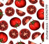 vector tomato seamless pattern... | Shutterstock .eps vector #559290799