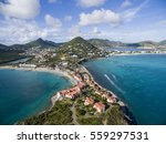 Stock photo high aerial view of the island of st maarten on a sunny day 559297531