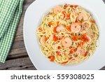 Shrimp Garlic Pasta Plate On...