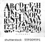Stock vector vintage gothic font in retro style drawing on dirty paper background 559309591
