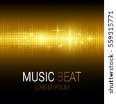 music beat. golden lights... | Shutterstock .eps vector #559315771