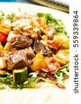 chop steak on plate | Shutterstock . vector #559339864