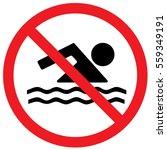 No Swimming Sign. Vector.