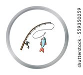 fishing rod and fish icon in... | Shutterstock .eps vector #559350259