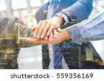 Small photo of Hand group Teamwork Join Hands Partnership Third party, Business clasping hand Concept, Double exposure image.