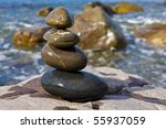 balanced wet stones near sea... | Shutterstock . vector #55937059