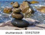 balanced wet stones near sea... | Shutterstock . vector #55937059
