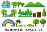 set of trees and mountains... | Shutterstock .eps vector #559376485