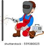 cute welder cartoon   Shutterstock .eps vector #559380025