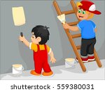 funny two little boys cartoon... | Shutterstock .eps vector #559380031