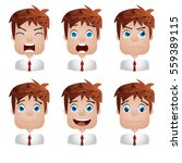human emotions. young guy. mood.... | Shutterstock . vector #559389115