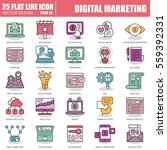 thin line digital marketing... | Shutterstock .eps vector #559392331
