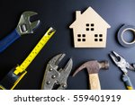 wooden house toy and... | Shutterstock . vector #559401919