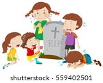 gravestone scene with children... | Shutterstock .eps vector #559402501