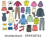 hand drawn clothing doodle set... | Shutterstock .eps vector #559418761