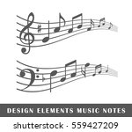 Set Of Musical Notes Isolated...
