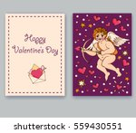 greeting card of angel and... | Shutterstock .eps vector #559430551